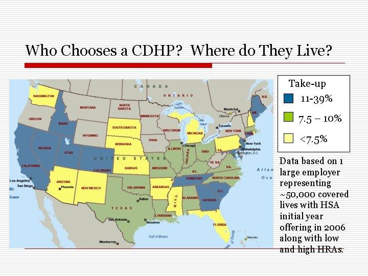 Who Chooses a CDHP? Where do They Live? Take-up 11 -39% 7. 5 –