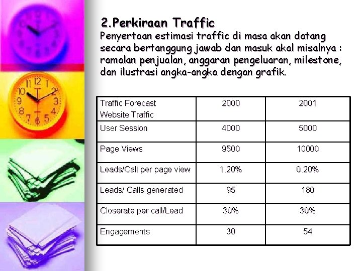 2. Perkiraan Traffic Penyertaan estimasi traffic di masa akan datang secara bertanggung jawab dan