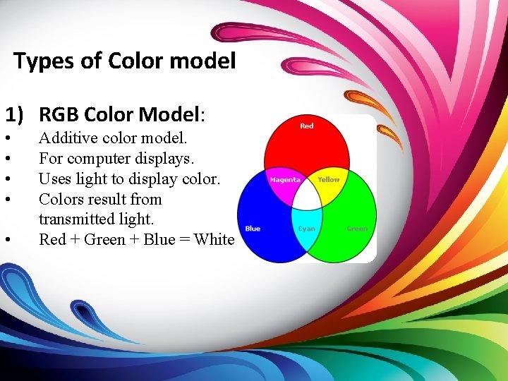 Types of Color model 1) RGB Color Model: • • • Additive color model.