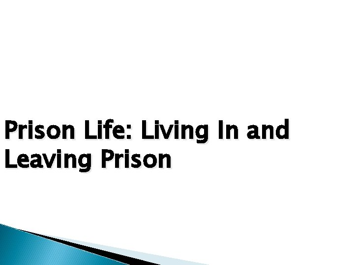 Prison Life: Living In and Leaving Prison