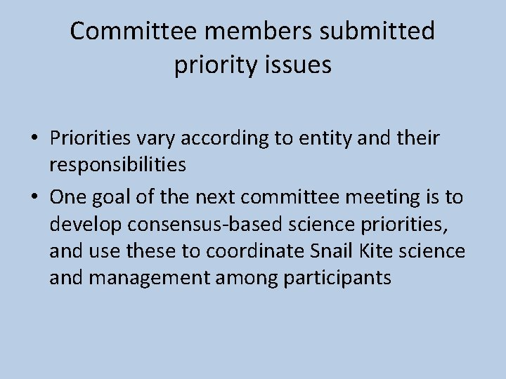 Committee members submitted priority issues • Priorities vary according to entity and their responsibilities