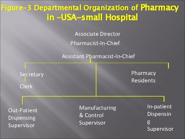 Figure-3 Departmental Organization of Pharmacy in –USA-small Hospital Associate Director Pharmacist-In-Chief Assistant Pharmacist-In-Chief Pharmacy