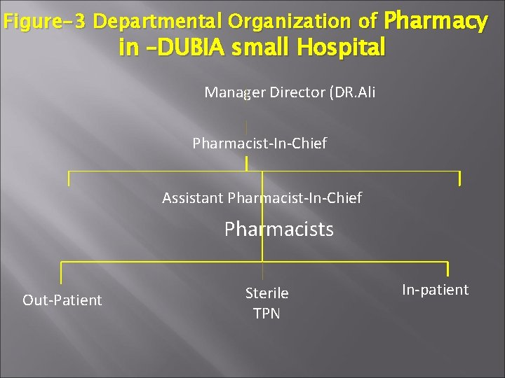 Figure-3 Departmental Organization of Pharmacy in –DUBIA small Hospital Manager Director (DR. Ali Pharmacist-In-Chief