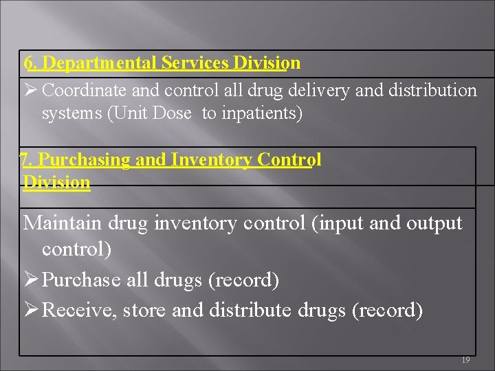 6. Departmental Services Division Coordinate and control all drug delivery and distribution systems (Unit