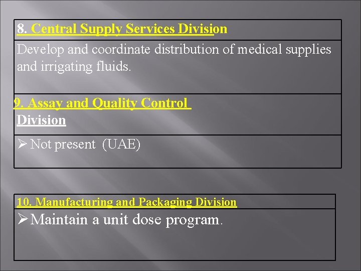 8. Central Supply Services Division Develop and coordinate distribution of medical supplies and irrigating