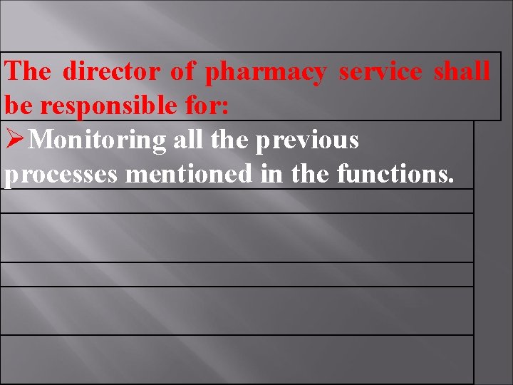 The director of pharmacy service shall be responsible for: Monitoring all the previous processes