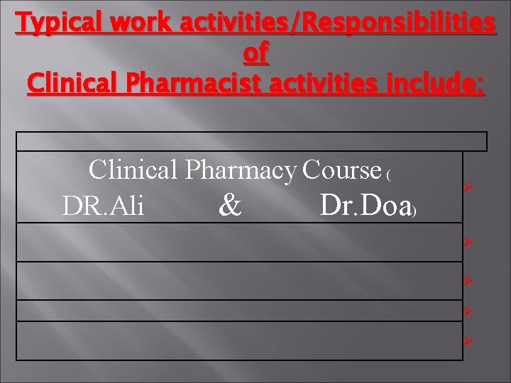 Typical work activities/Responsibilities of Clinical Pharmacist activities include: Clinical Pharmacy Course ( DR. Ali