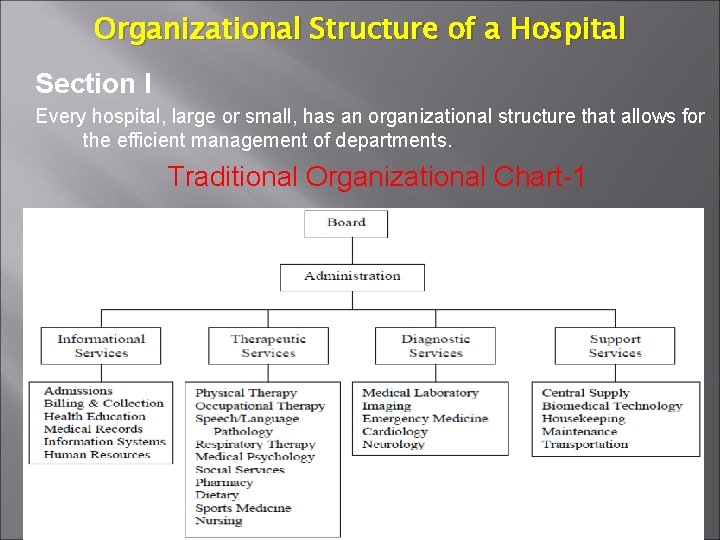 Organizational Structure of a Hospital Section I Every hospital, large or small, has an