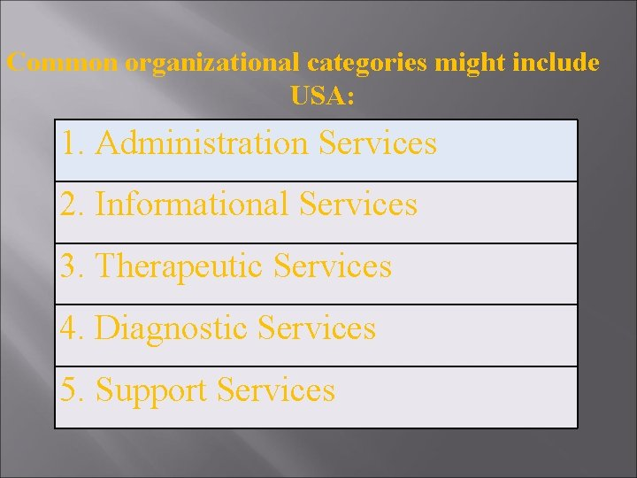 Common organizational categories might include USA: 1. Administration Services 2. Informational Services 3. Therapeutic