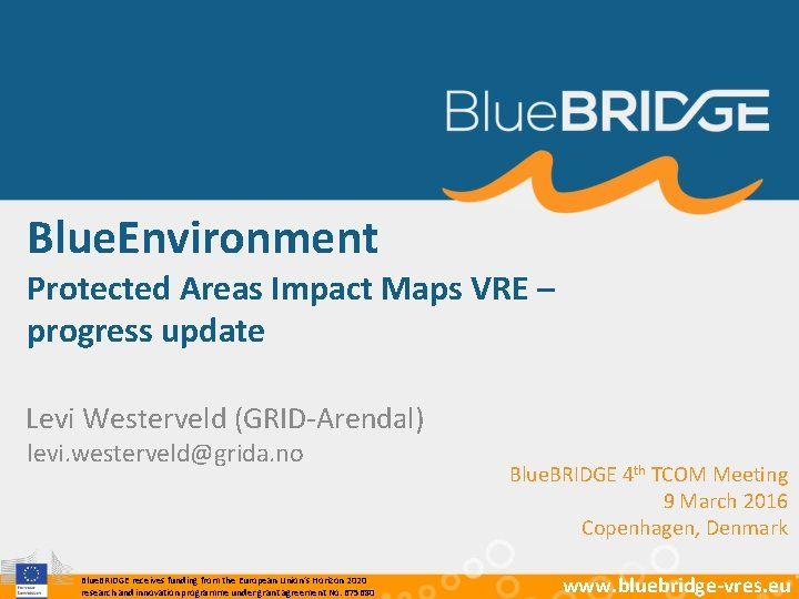 Blue. Environment Protected Areas Impact Maps VRE – progress update Levi Westerveld (GRID-Arendal) levi.