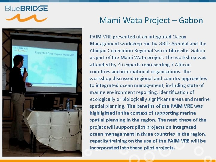 Mami Wata Project – Gabon PAIM VRE presented at an integrated Ocean Management workshop