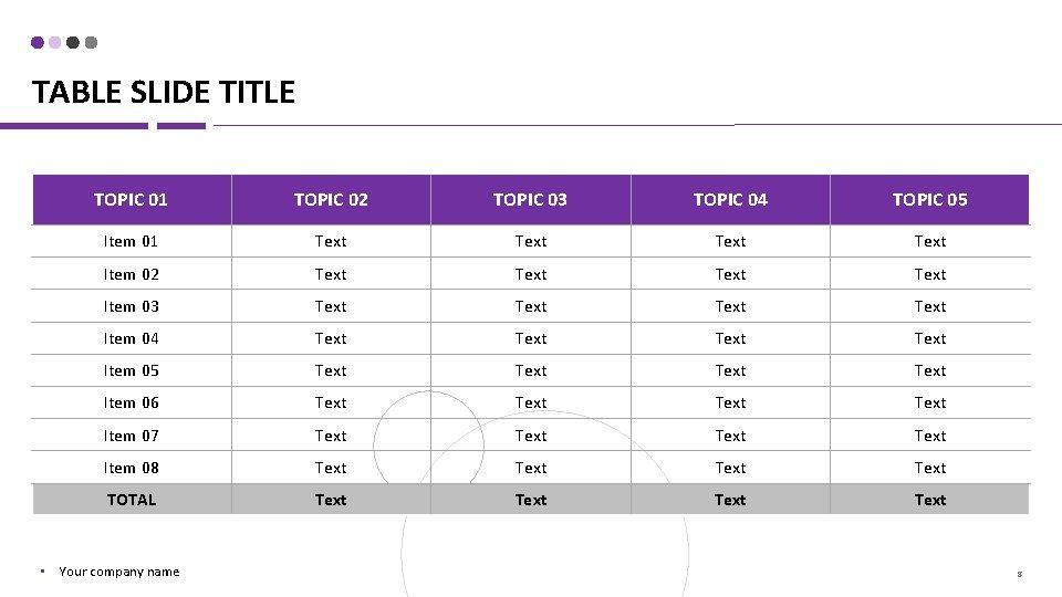 TABLE SLIDE TITLE TOPIC 01 TOPIC 02 TOPIC 03 TOPIC 04 TOPIC 05 Item