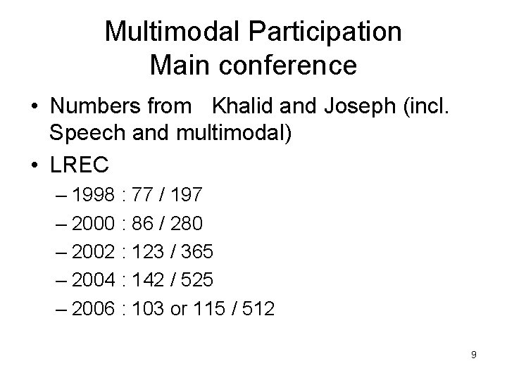 Multimodal Participation Main conference • Numbers from Khalid and Joseph (incl. Speech and multimodal)