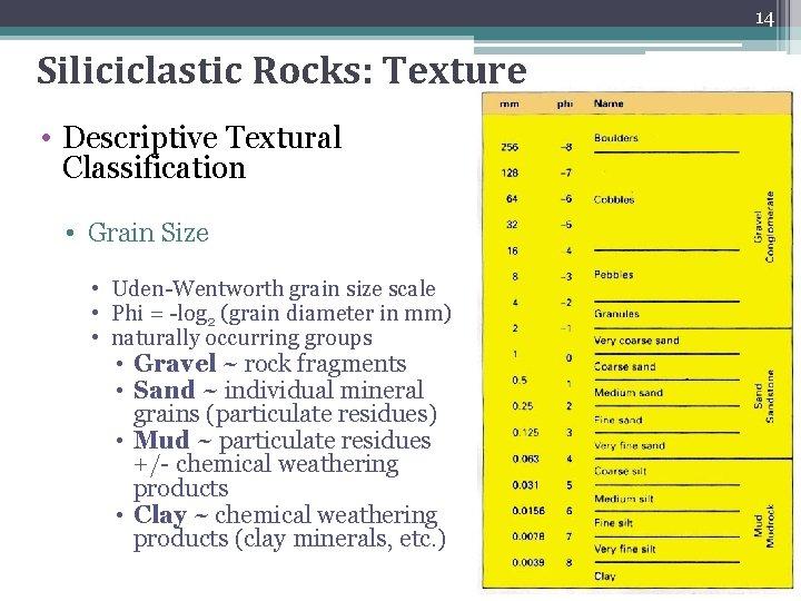 14 Siliciclastic Rocks: Texture • Descriptive Textural Classification • Grain Size • Uden-Wentworth grain
