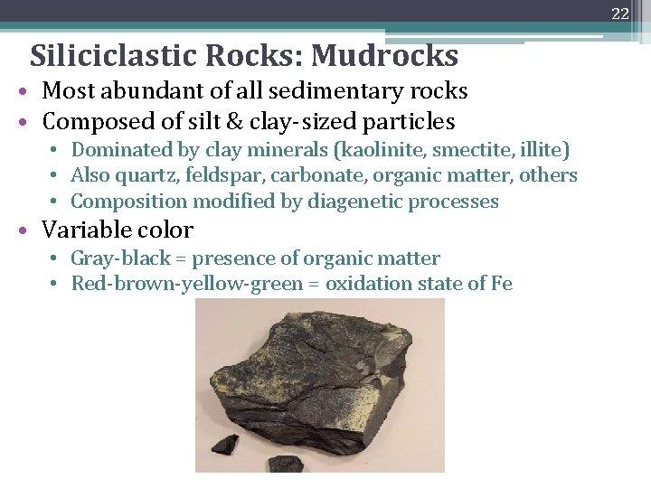 22 Siliciclastic Rocks: Mudrocks • Most abundant of all sedimentary rocks • Composed of