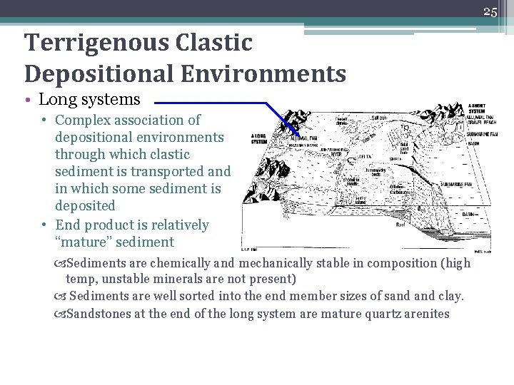 25 Terrigenous Clastic Depositional Environments • Long systems • Complex association of depositional environments
