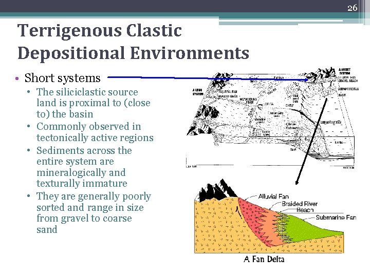 26 Terrigenous Clastic Depositional Environments • Short systems • The siliciclastic source land is