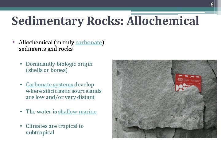 6 Sedimentary Rocks: Allochemical • Allochemical (mainly carbonate) sediments and rocks • Dominantly biologic