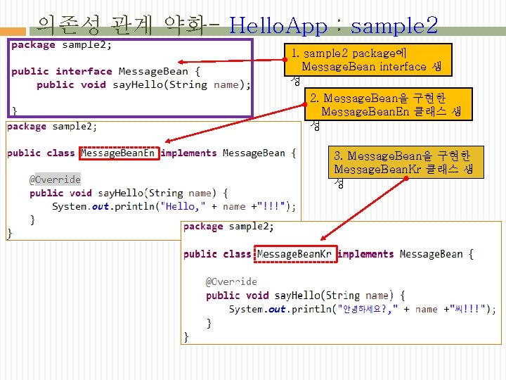 의존성 관계 약화- Hello. App : sample 2 1. sample 2 package에 Message. Bean