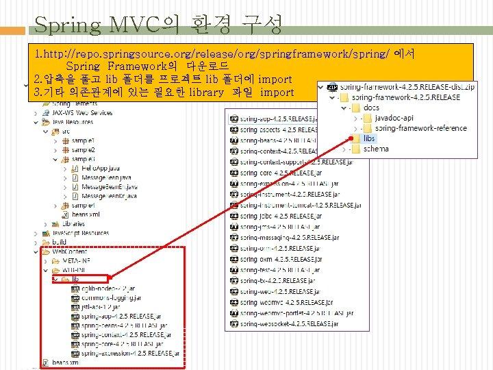 Spring MVC의 환경 구성 1. http: //repo. springsource. org/release/org/springframework/spring/ 에서 Spring Framework의 다운로드 2.