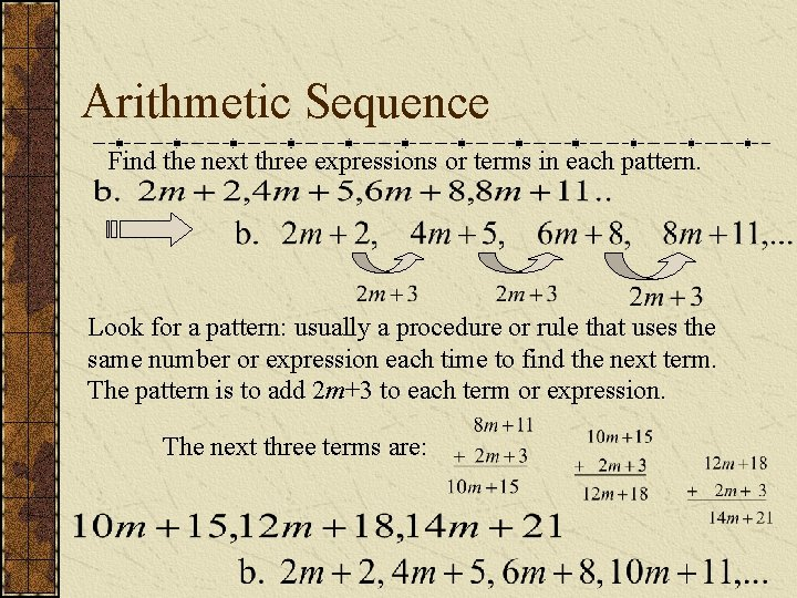Arithmetic Sequence Find the next three expressions or terms in each pattern. Look for