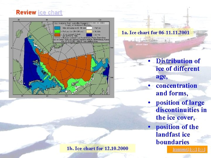 Review ice chart 1 a. Ice chart for 06 -11. 2001 1 b. Ice