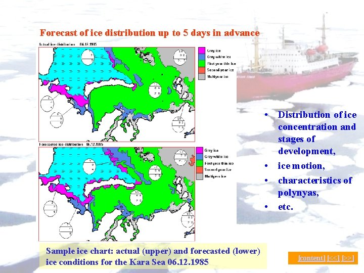 Forecast of ice distribution up to 5 days in advance • Distribution of ice