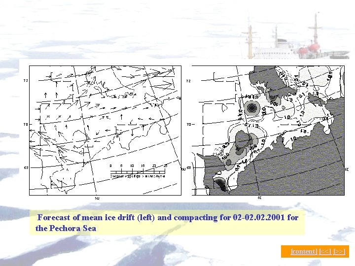 Forecast of mean ice drift (left) and compacting for 02 -02. 2001 for the