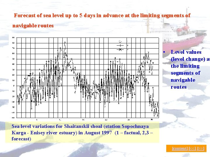 Forecast of sea level up to 5 days in advance at the limiting segments
