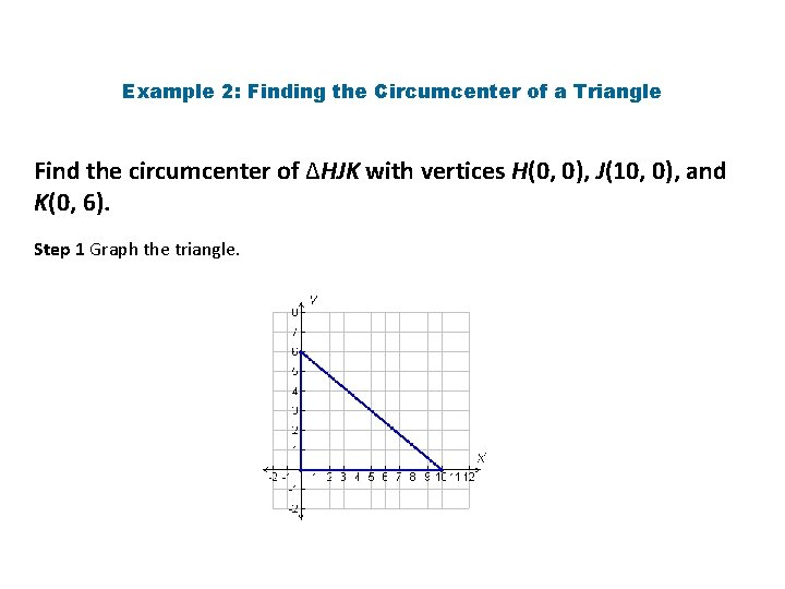 Example 2: Finding the Circumcenter of a Triangle Find the circumcenter of ∆HJK with