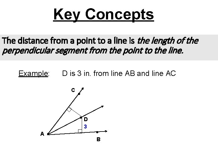 Key Concepts The distance from a point to a line is the length of