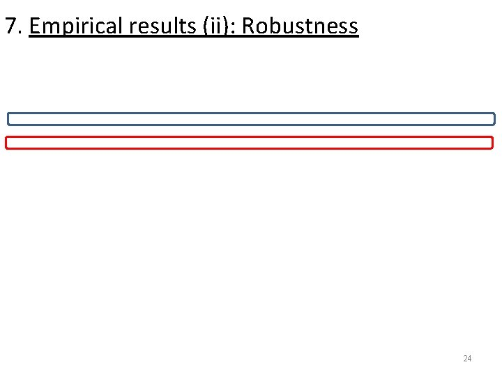 7. Empirical results (ii): Robustness 24