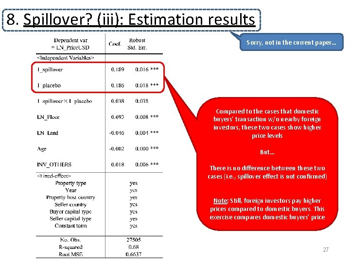 8. Spillover? (iii): Estimation results Sorry, not in the current paper… Compared to the