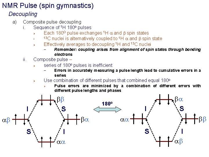 NMR Pulse (spin gymnastics) Decoupling a) Composite pulse decoupling i. Sequence of 1 H