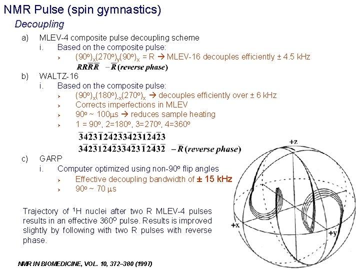 NMR Pulse (spin gymnastics) Decoupling a) MLEV-4 composite pulse decoupling scheme i. Based on