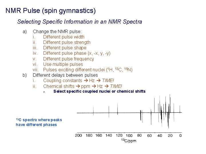 NMR Pulse (spin gymnastics) Selecting Specific Information in an NMR Spectra a) b) Change