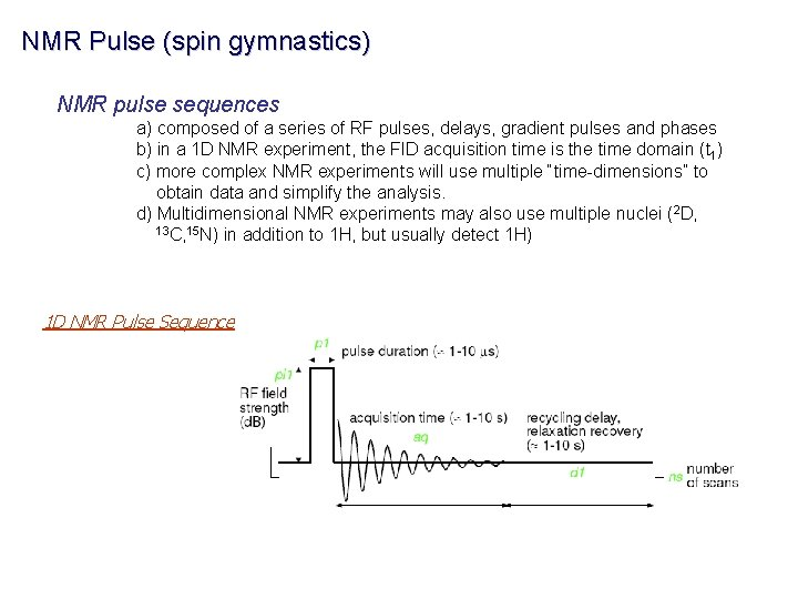 NMR Pulse (spin gymnastics) NMR pulse sequences a) composed of a series of RF