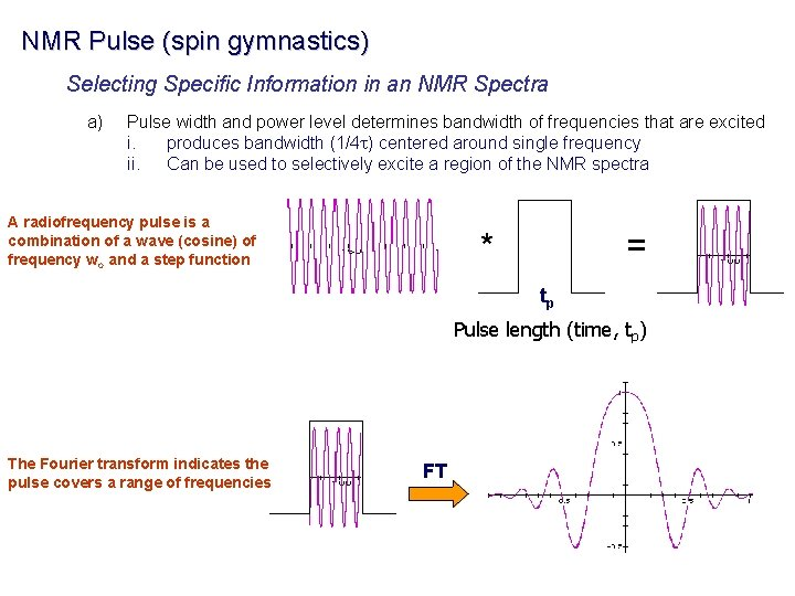 NMR Pulse (spin gymnastics) Selecting Specific Information in an NMR Spectra a) Pulse width