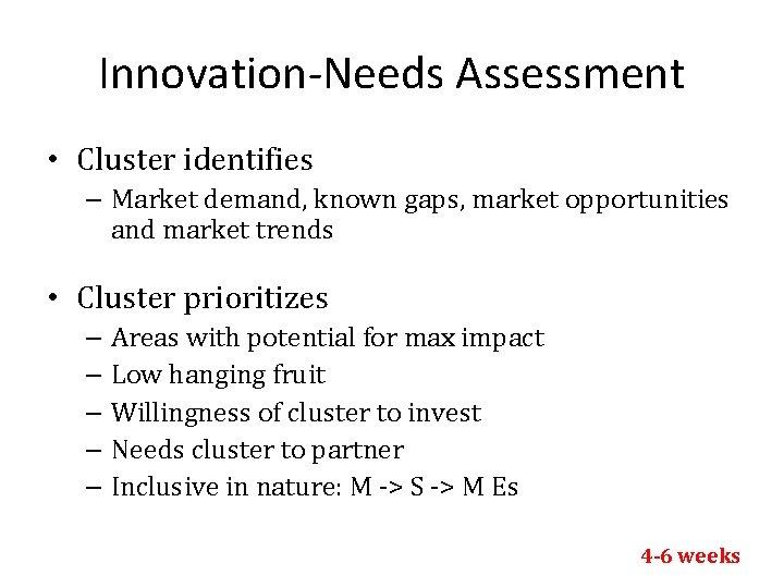 Innovation-Needs Assessment • Cluster identifies – Market demand, known gaps, market opportunities and market