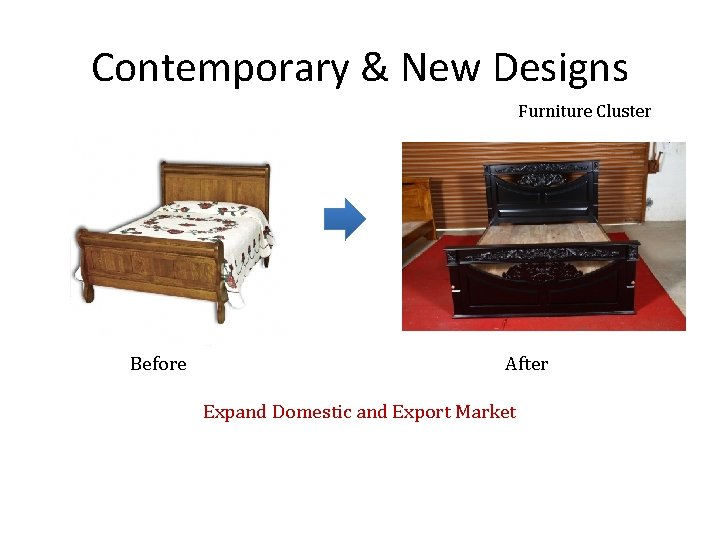 Contemporary & New Designs Furniture Cluster Before After Expand Domestic and Export Market