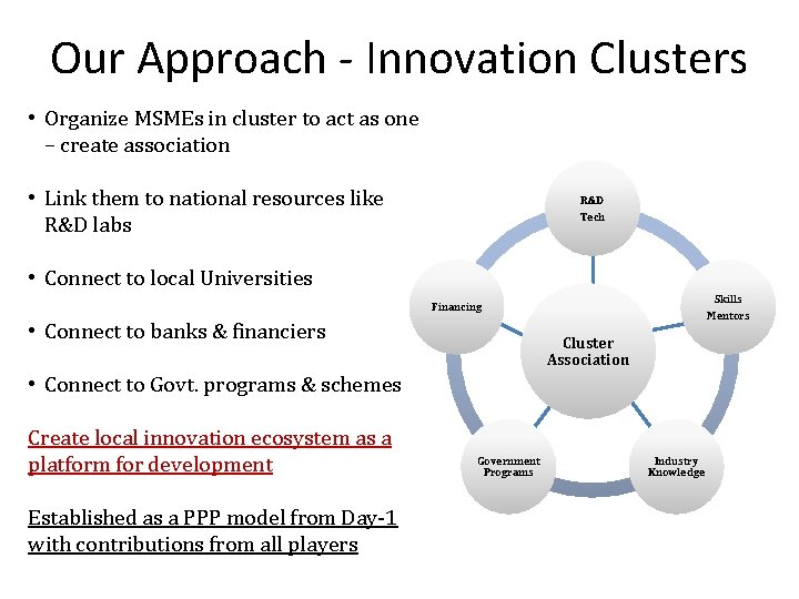Our Approach - Innovation Clusters • Organize MSMEs in cluster to act as one