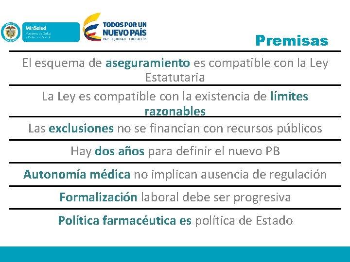 Premisas El esquema de aseguramiento es compatible con la Ley Estatutaria La Ley es