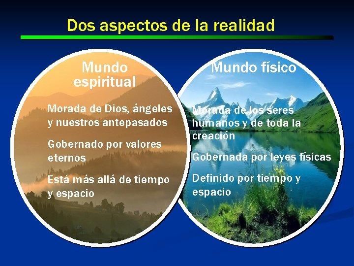 Dos aspectos de la realidad Mundo espiritual Morada de Dios, ángeles y nuestros antepasados