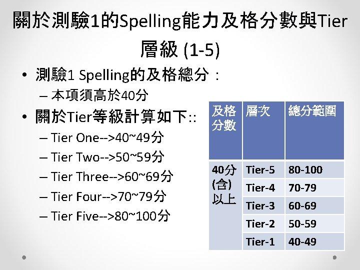 關於測驗 1的Spelling能力及格分數與Tier 層級 (1 -5) • 測驗 1 Spelling的及格總分: – 本項須高於 40分 • 關於Tier等級計算如下: