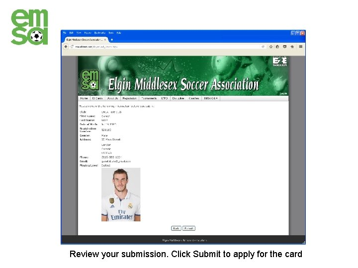 Review your submission. Click Submit to apply for the card