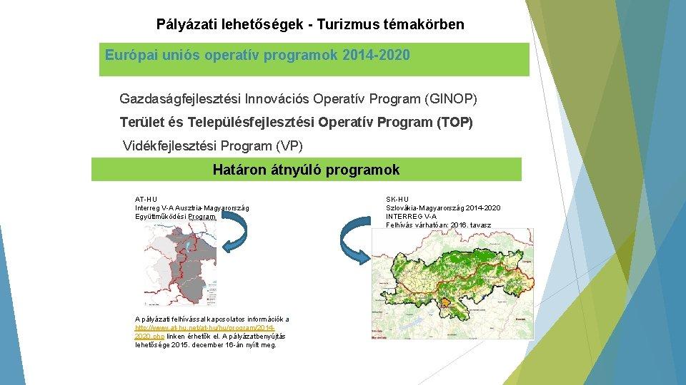 Pályázati lehetőségek - Turizmus témakörben Európai uniós operatív programok 2014 -2020 Gazdaságfejlesztési Innovációs Operatív