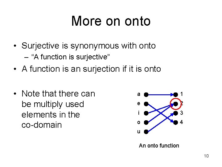 """More on onto • Surjective is synonymous with onto – """"A function is surjective"""""""