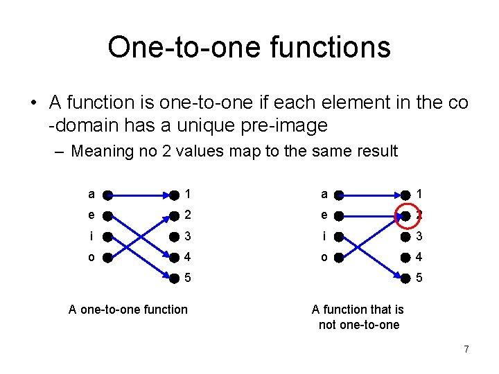 One-to-one functions • A function is one-to-one if each element in the co -domain
