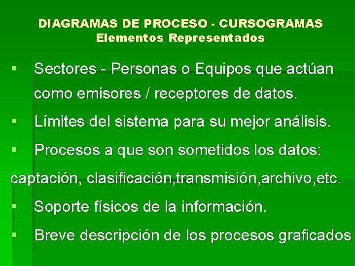 DIAGRAMAS DE PROCESO - CURSOGRAMAS Elementos Representados § Sectores - Personas o Equipos que