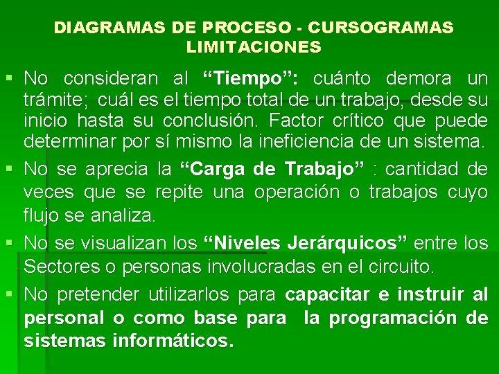 """DIAGRAMAS DE PROCESO - CURSOGRAMAS LIMITACIONES § No consideran al """"Tiempo"""": cuánto demora un"""